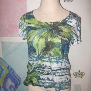 Green White Blue Tropical Abstract Stretch Top XL